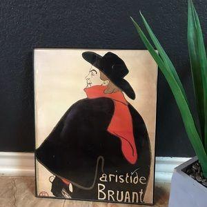 VTG Framed Aristide Bruant Print Poster